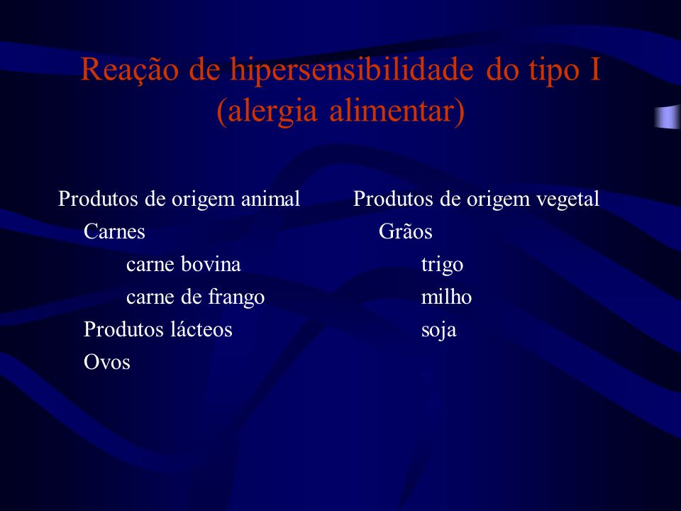 Reação de hipersensibilidade do tipo I (alergia alimentar) Produtos de origem animal Carnes carne bovina carne de frango Produtos lácteos Ovos Produto