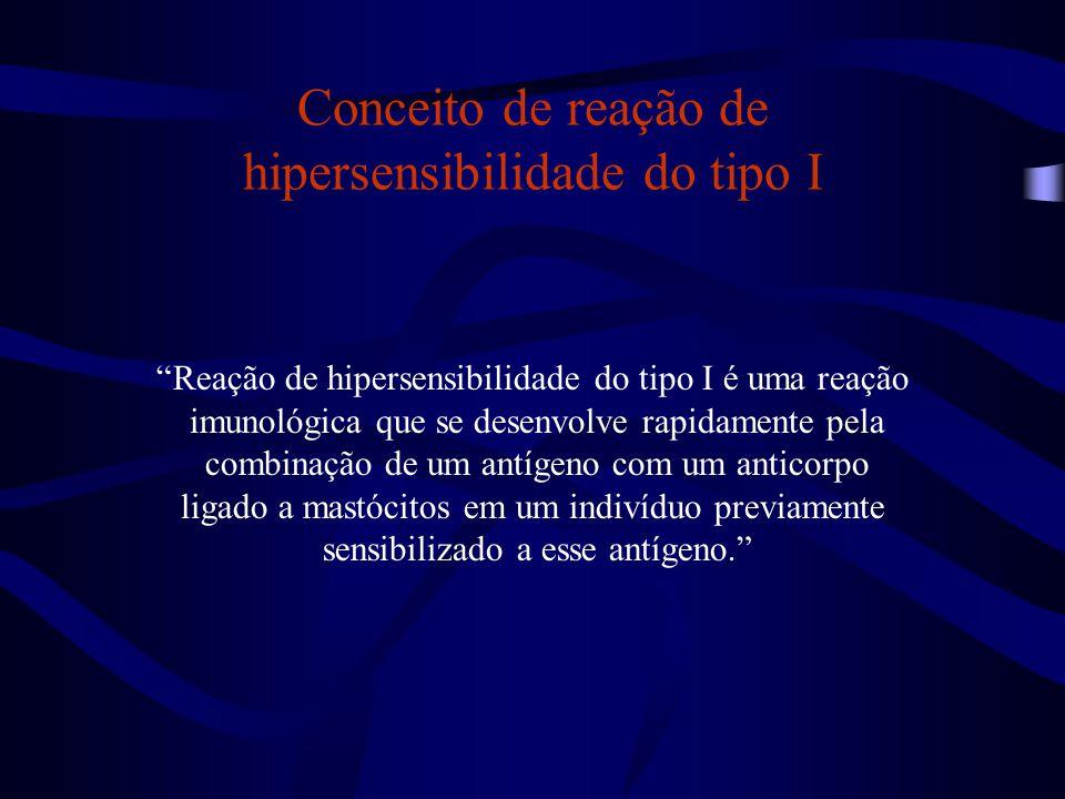 """Conceito de reação de hipersensibilidade do tipo I """"Reação de hipersensibilidade do tipo I é uma reação imunológica que se desenvolve rapidamente pela"""