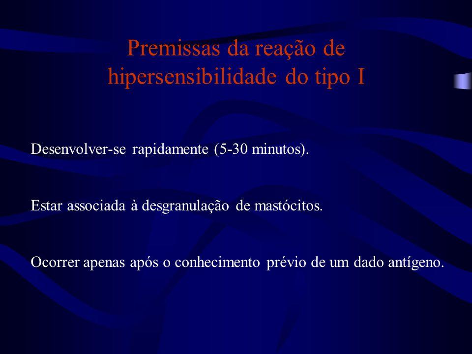 Premissas da reação de hipersensibilidade do tipo I Desenvolver-se rapidamente (5-30 minutos). Estar associada à desgranulação de mastócitos. Ocorrer