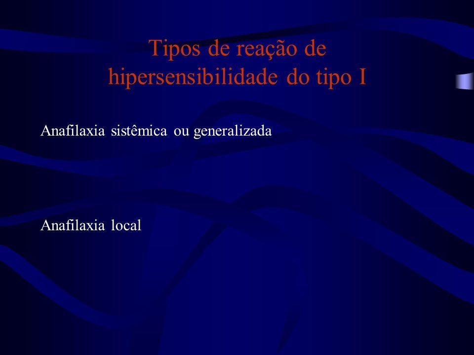 Tipos de reação de hipersensibilidade do tipo I Anafilaxia sistêmica ou generalizada Anafilaxia local