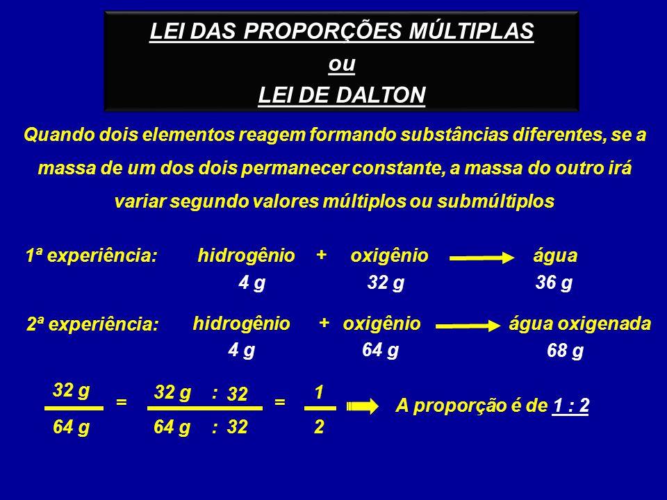 LEI DAS PROPORÇÕES MÚLTIPLAS ou LEI DE DALTON LEI DAS PROPORÇÕES MÚLTIPLAS ou LEI DE DALTON hidrogêniooxigênioágua + 4 g64 g 68 g 1ª experiência: 4 g3