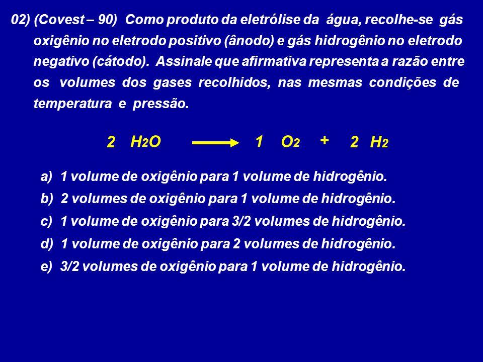02) (Covest – 90) Como produto da eletrólise da água, recolhe-se gás oxigênio no eletrodo positivo (ânodo) e gás hidrogênio no eletrodo negativo (cáto