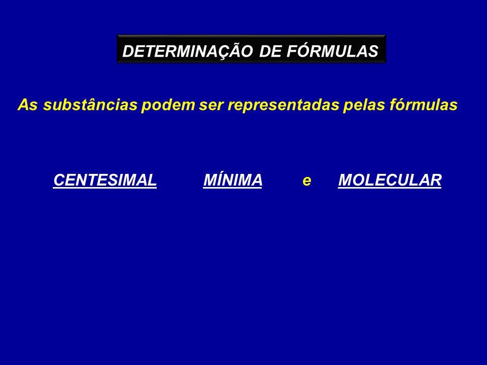 DETERMINAÇÃO DE FÓRMULAS As substâncias podem ser representadas pelas fórmulas CENTESIMALMÍNIMAMOLECULARe