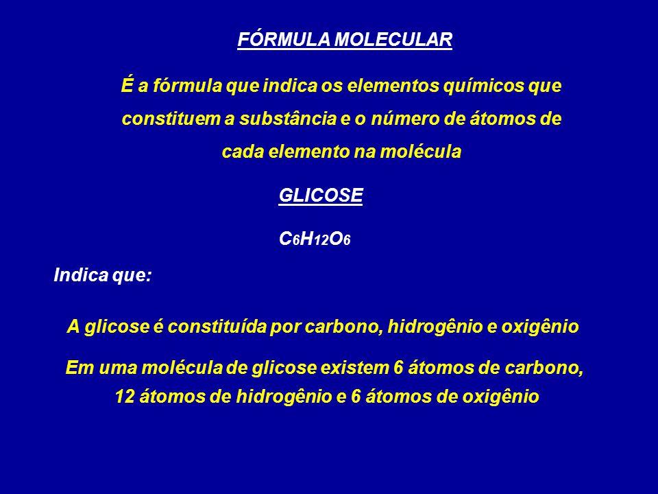 FÓRMULA MOLECULAR É a fórmula que indica os elementos químicos que constituem a substância e o número de átomos de cada elemento na molécula C 6 H 12