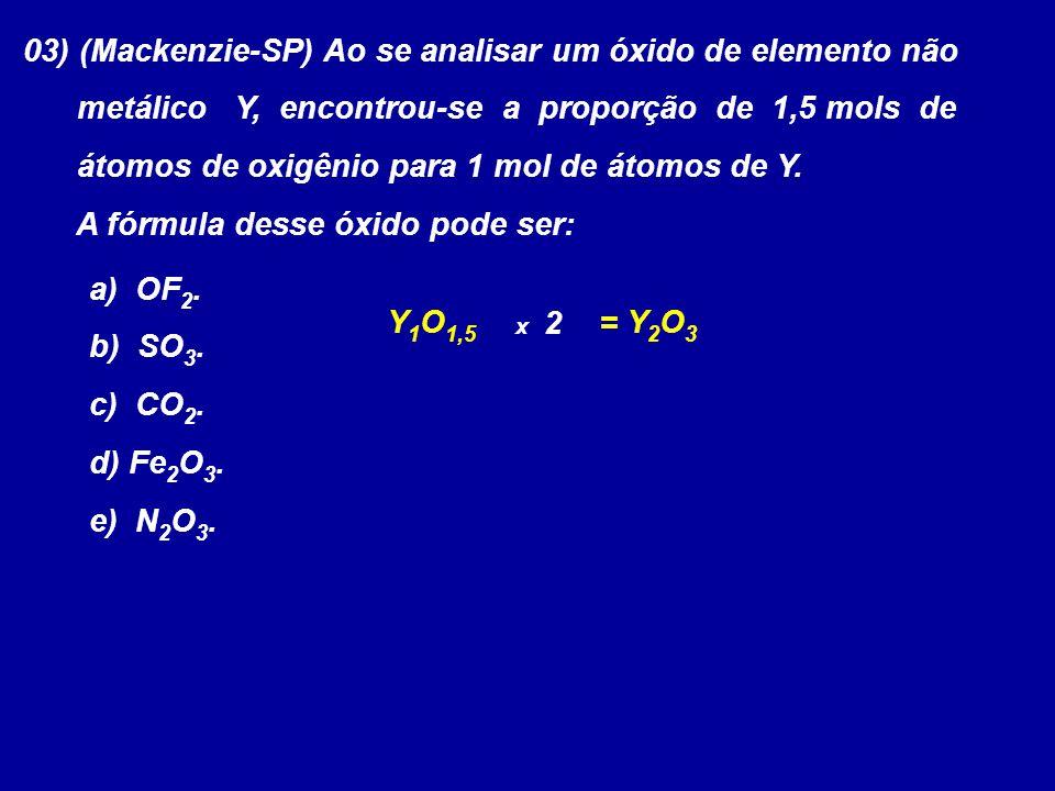 03) (Mackenzie-SP) Ao se analisar um óxido de elemento não metálico Y, encontrou-se a proporção de 1,5 mols de átomos de oxigênio para 1 mol de átomos