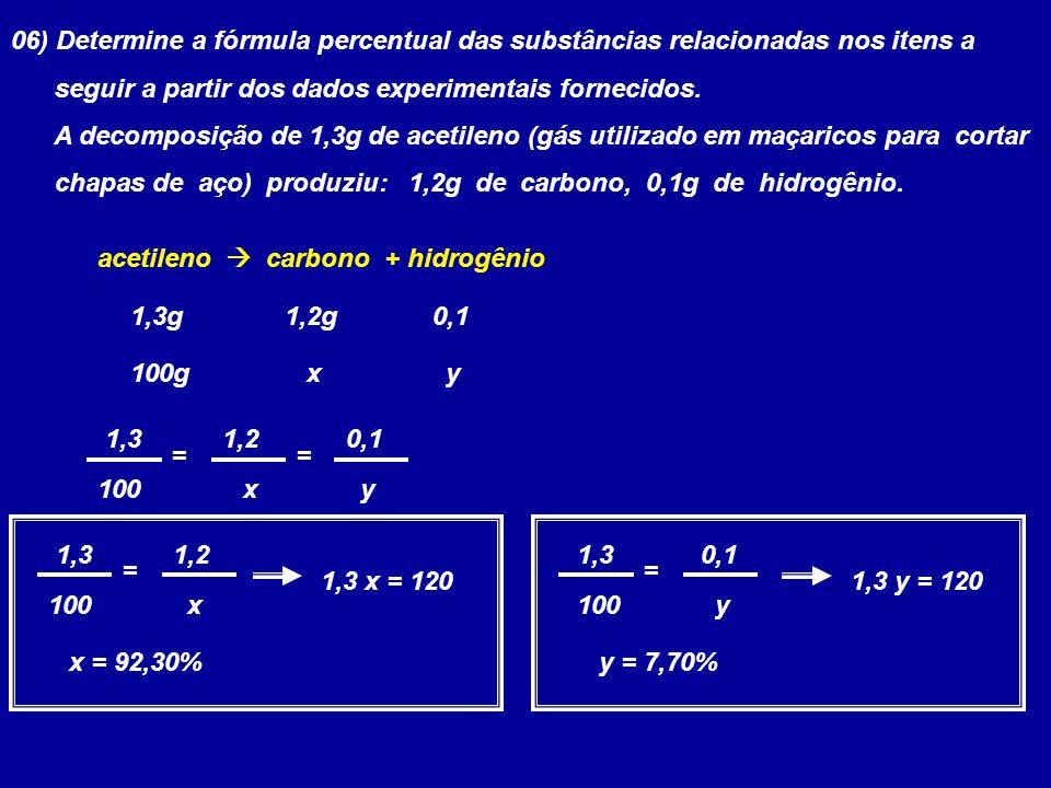 06) Determine a fórmula percentual das substâncias relacionadas nos itens a seguir a partir dos dados experimentais fornecidos. A decomposição de 1,3g