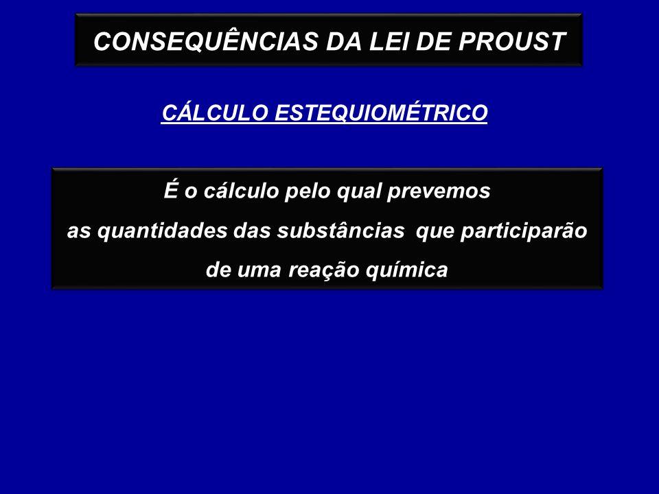 CONSEQUÊNCIAS DA LEI DE PROUST CÁLCULO ESTEQUIOMÉTRICO É o cálculo pelo qual prevemos as quantidades das substâncias que participarão de uma reação qu