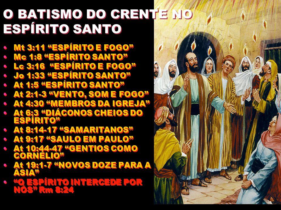 O BATISMO DO CRENTE NO ESPÍRITO SANTO Mt 3:11 ESPÍRITO E FOGO Mc 1:8 ESPÍRITO SANTO Lc 3:16 ESPÍRITO E FOGO Jo 1:33 ESPÍRITO SANTO At 1:5 ESPÍRITO SANTO At 2:1-3 VENTO, SOM E FOGO At 4:30 MEMBROS DA IGREJA At 6:3 DIÁCONOS CHEIOS DO ESPÍRITO At 8:14-17 SAMARITANOS At 9:17 SAULO EM PAULO At 10:44-47 GENTIOS COMO CORNÉLIO At 19:1-7 NOVOS DOZE PARA A ÁSIA O ESPÍRITO INTERCEDE POR NÓS Rm 8:24 Mt 3:11 ESPÍRITO E FOGO Mc 1:8 ESPÍRITO SANTO Lc 3:16 ESPÍRITO E FOGO Jo 1:33 ESPÍRITO SANTO At 1:5 ESPÍRITO SANTO At 2:1-3 VENTO, SOM E FOGO At 4:30 MEMBROS DA IGREJA At 6:3 DIÁCONOS CHEIOS DO ESPÍRITO At 8:14-17 SAMARITANOS At 9:17 SAULO EM PAULO At 10:44-47 GENTIOS COMO CORNÉLIO At 19:1-7 NOVOS DOZE PARA A ÁSIA O ESPÍRITO INTERCEDE POR NÓS Rm 8:24