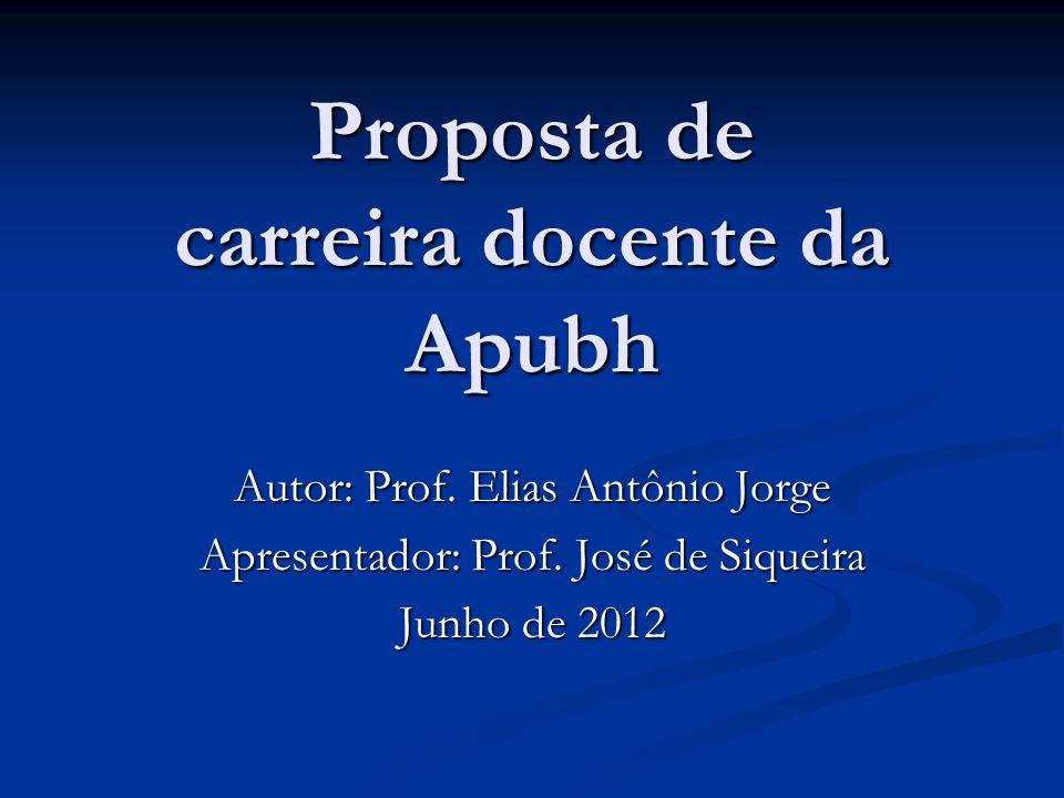 Proposta de carreira docente da Apubh Autor: Prof. Elias Antônio Jorge Apresentador: Prof. José de Siqueira Junho de 2012