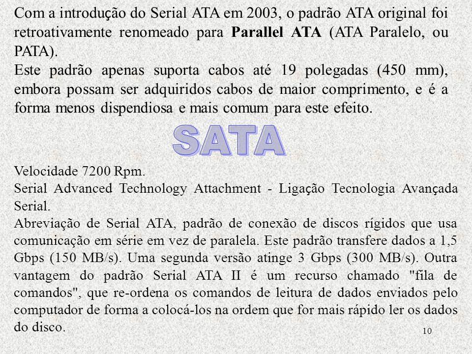 10 Com a introdu ç ão do Serial ATA em 2003, o padrão ATA original foi retroativamente renomeado para Parallel ATA (ATA Paralelo, ou PATA). Este padrã