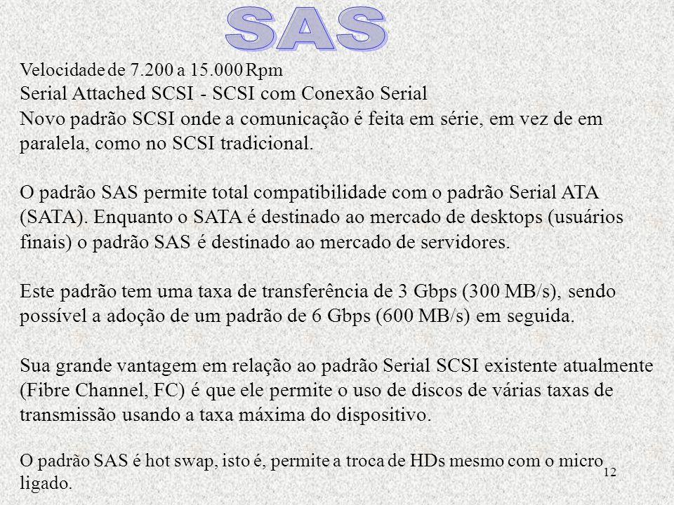 12 Velocidade de 7.200 a 15.000 Rpm Serial Attached SCSI - SCSI com Conexão Serial Novo padrão SCSI onde a comunicação é feita em série, em vez de em paralela, como no SCSI tradicional.