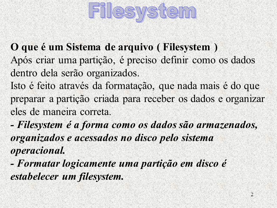 2 O que é um Sistema de arquivo ( Filesystem ) Após criar uma partição, é preciso definir como os dados dentro dela serão organizados. Isto é feito at