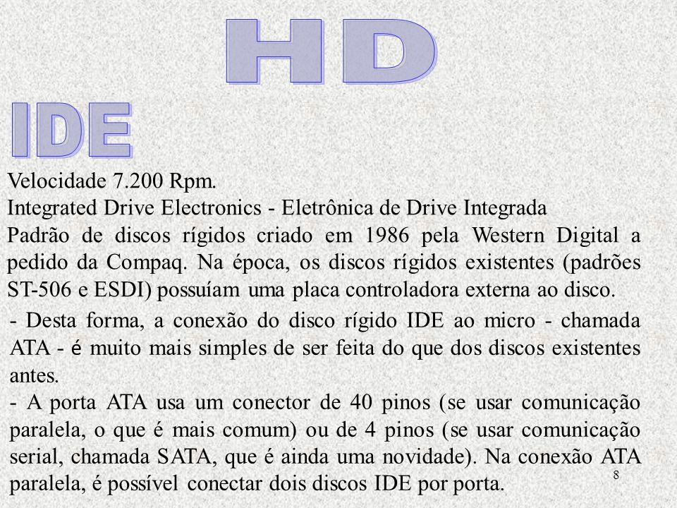 8 Velocidade 7.200 Rpm. Integrated Drive Electronics - Eletrônica de Drive Integrada Padrão de discos rígidos criado em 1986 pela Western Digital a pe