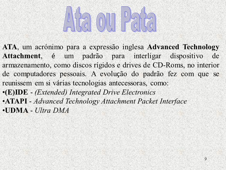 9 ATA, um acrónimo para a expressão inglesa Advanced Technology Attachment, é um padrão para interligar dispositivo de armazenamento, como discos rígidos e drives de CD-Roms, no interior de computadores pessoais.