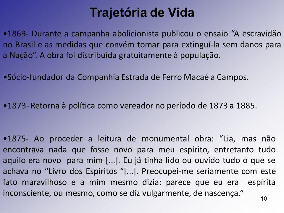 """10 1869- Durante a campanha abolicionista publicou o ensaio """"A escravidão no Brasil e as medidas que convém tomar para extinguí-la sem danos para a Na"""