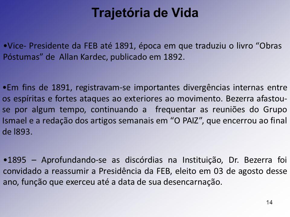 """14 Trajetória de Vida Vice- Presidente da FEB até 1891, época em que traduziu o livro """"Obras Póstumas"""" de Allan Kardec, publicado em 1892. 1895 – Apro"""