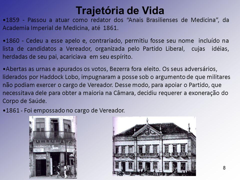 8 1861 - Foi empossado no cargo de Vereador. Trajetória de Vida Abertas as urnas e apurados os votos, Bezerra fora eleito. Os seus adversários, lidera