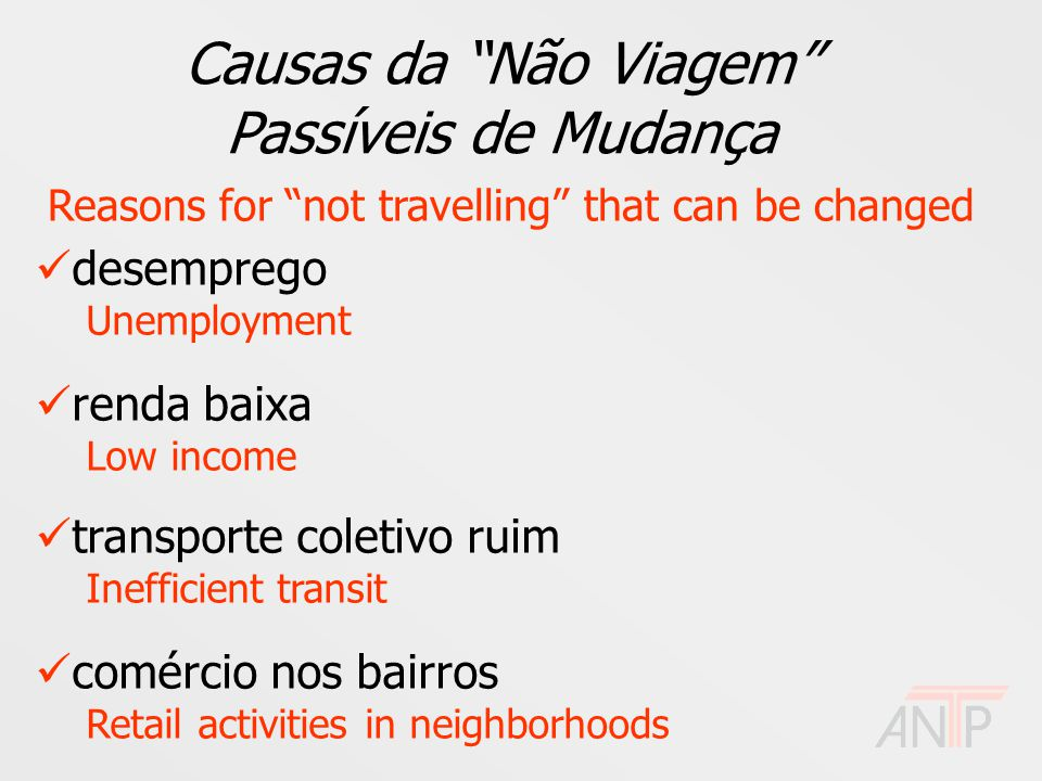 Causas da Não Viagem Passíveis de Mudança Reasons for not travelling that can be changed desemprego Unemployment renda baixa Low income transporte coletivo ruim Inefficient transit comércio nos bairros Retail activities in neighborhoods