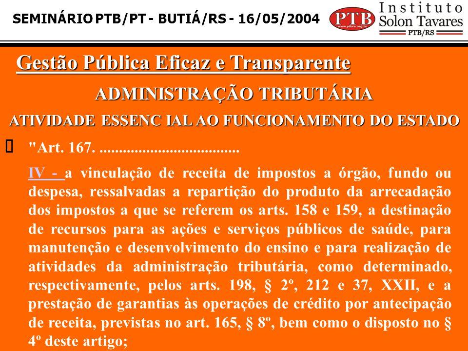 SEMINÁRIO PTB/PT - BUTIÁ/RS - 16/05/2004 Gestão Pública Eficaz e Transparente  ADMINISTRAÇÃO TRIBUTÁRIA ATIVIDADE ESSENC IAL AO FUNCIONAMENTO DO ESTA