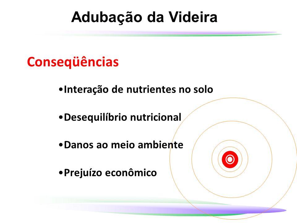 Adubação da Videira Conseqüências Interação de nutrientes no solo Desequilíbrio nutricional Danos ao meio ambiente Prejuízo econômico