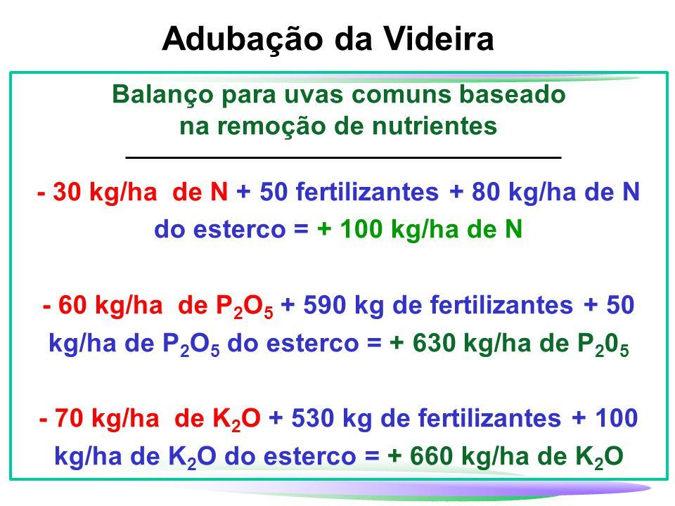 Adubação da Videira Balanço para uvas comuns baseado na remoção de nutrientes - 30 kg/ha de N + 50 fertilizantes + 80 kg/ha de N do esterco = + 100 kg
