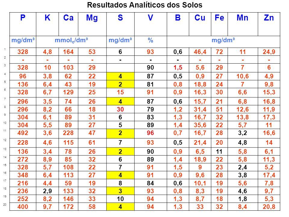 Resultados Analíticos dos Solos PKCaMgSVBCuFeMnZn mg/dm³mmol c /dm³mg/dm³% 1 3284,8164536930,646,4721124,9 2 ----------- 3 3281010329 901,55,62976 4 9