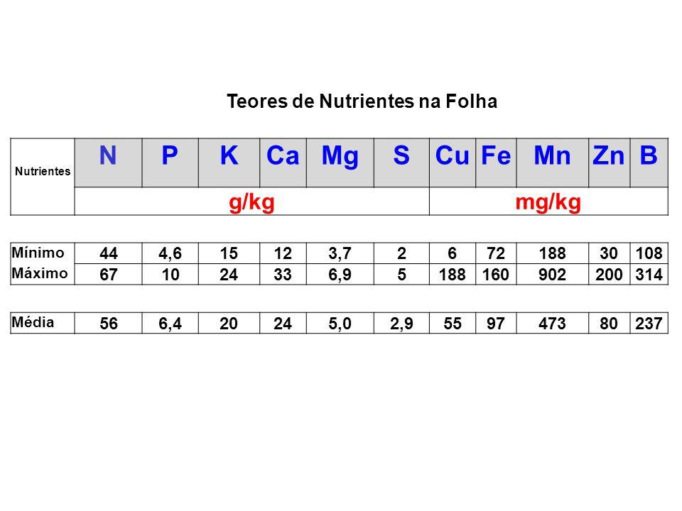 Nutrientes NPKCaMgSCuFeMnZnB g/kgmg/kg Mínimo 444,615123,7267218830108 Máximo 671024336,95188160902200314 Média 566,420245,02,9559747380237 Teores de