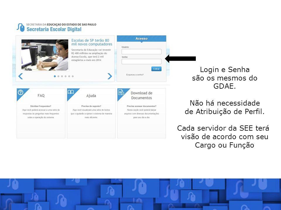 Login e Senha são os mesmos do GDAE. Não há necessidade de Atribuição de Perfil. Cada servidor da SEE terá visão de acordo com seu Cargo ou Função