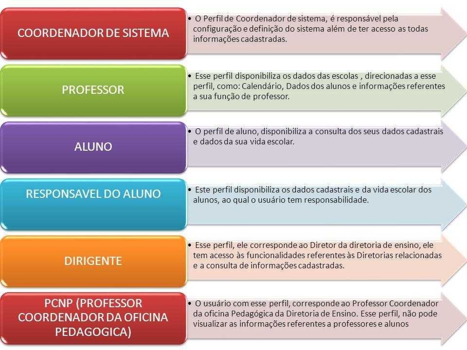 O Perfil de Coordenador de sistema, é responsável pela configuração e definição do sistema além de ter acesso as todas informações cadastradas. COORDE