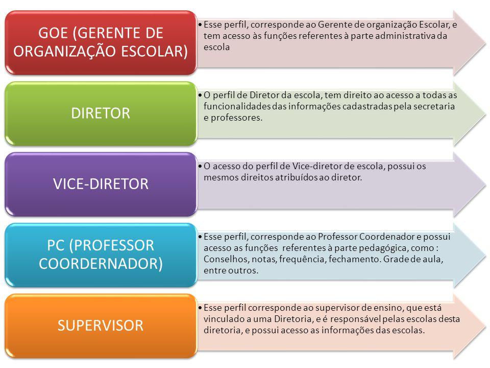 Esse perfil, corresponde ao Gerente de organização Escolar, e tem acesso às funções referentes à parte administrativa da escola GOE (GERENTE DE ORGANI