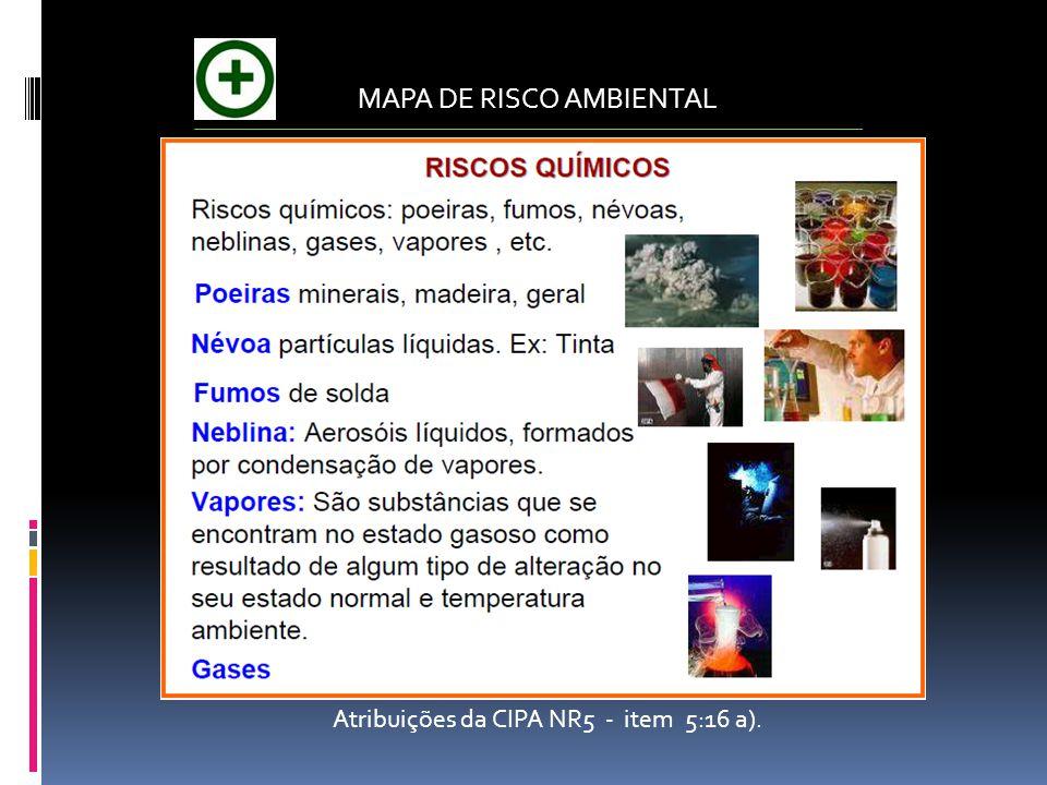 MAPA DE RISCO AMBIENTAL Atribuições da CIPA NR5 - item 5:16 a).