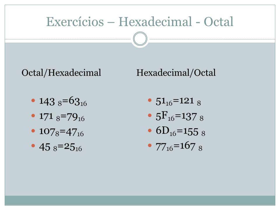 Exercícios – Hexadecimal - Octal 51 16 =121 8 5F 16 =137 8 6D 16 =155 8 77 16 =167 8 Octal/Hexadecimal 143 8 =63 16 171 8 =79 16 107 8 =47 16 45 8 =25 16 Hexadecimal/Octal