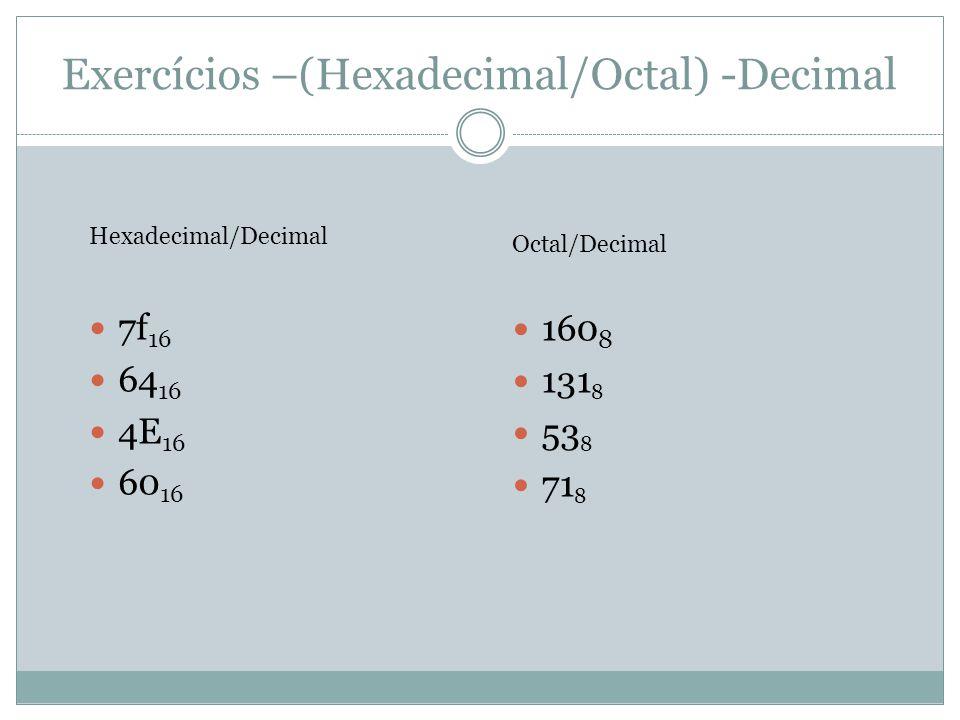 Exercícios –(Hexadecimal/Octal) -Decimal 7f 16 64 16 4E 16 60 16 Hexadecimal/Decimal Octal/Decimal 160 8 131 8 53 8 71 8