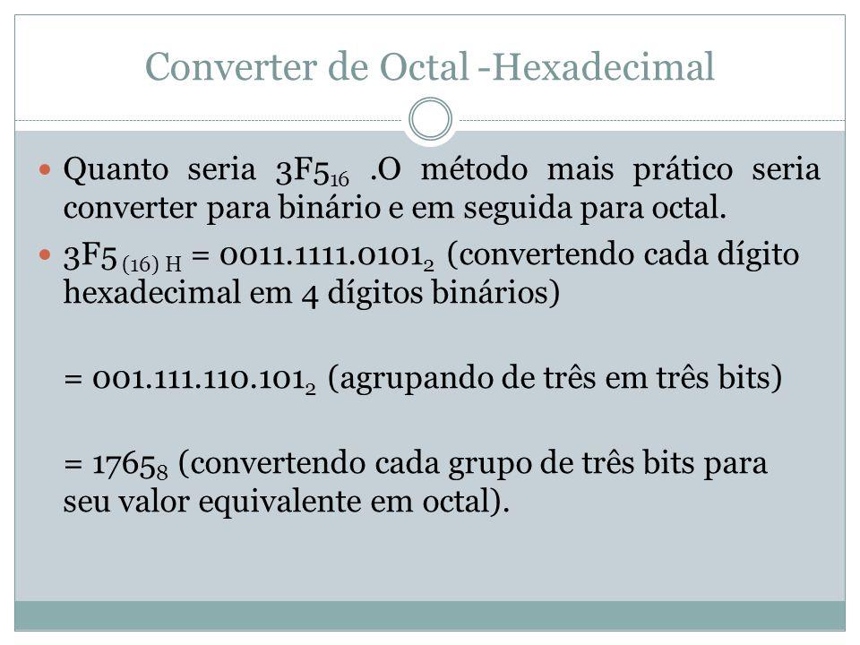 Converter de Octal -Hexadecimal Quanto seria 3F5 16.O método mais prático seria converter para binário e em seguida para octal.