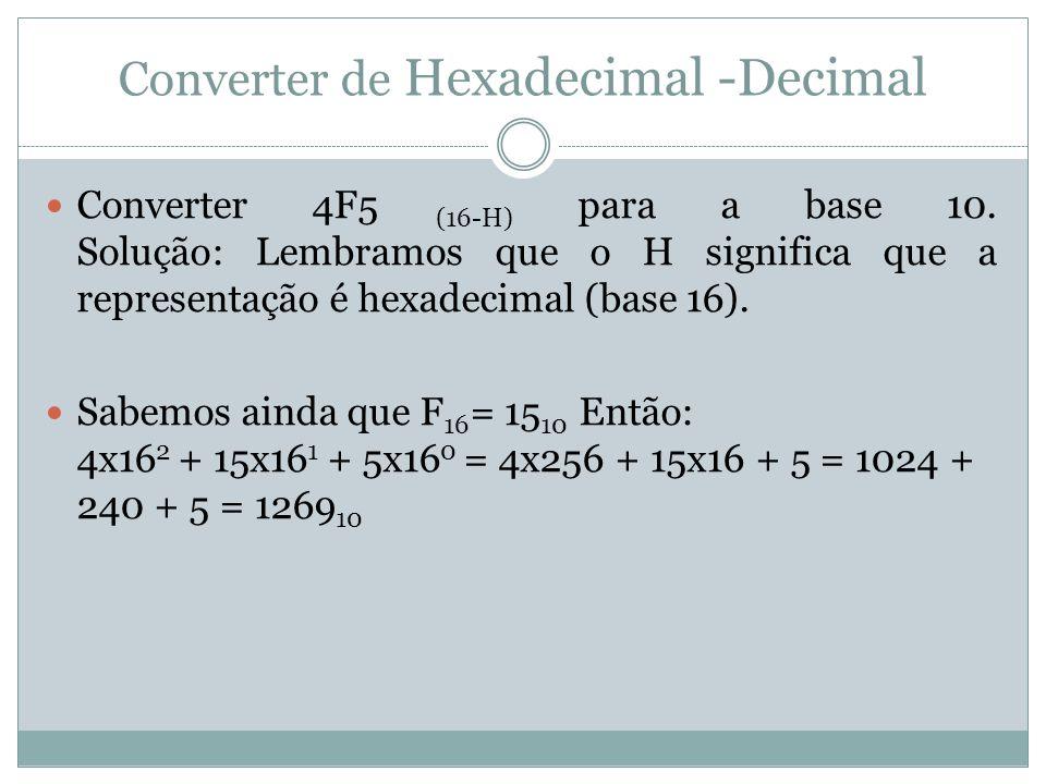 Converter de Hexadecimal -Decimal Converter 4F5 (16-H) para a base 10.