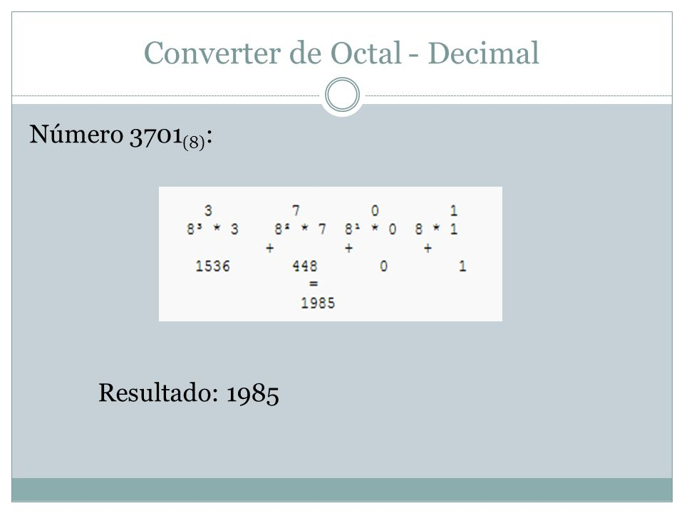 Converter de Octal - Decimal Número 3701 (8) : Resultado: 1985