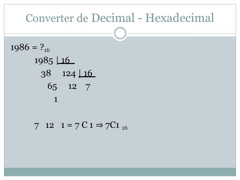 Converter de Decimal - Hexadecimal 1986 = .