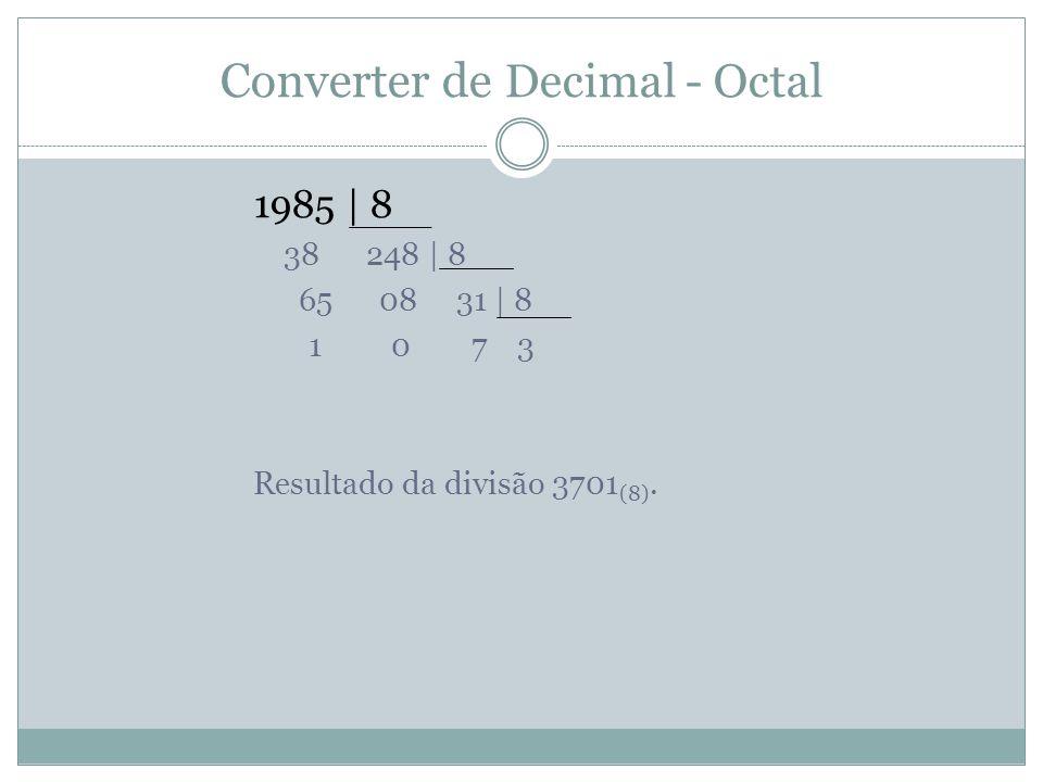 Converter de Decimal - Octal 1985 | 8 38 248 | 8 65 08 31 | 8 1 0 7 3 Resultado da divisão 3701 (8).