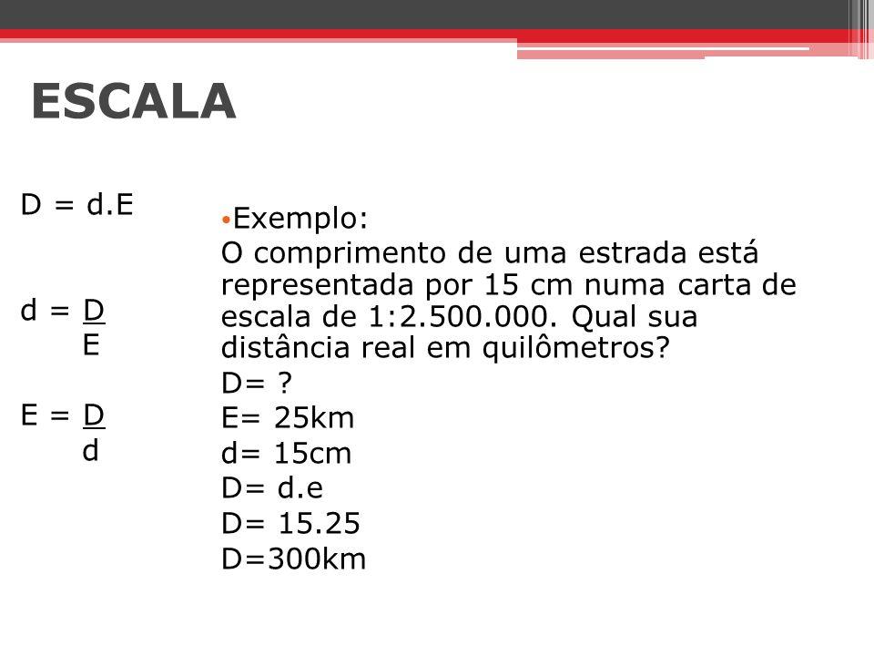 ESCALA D = d.E d = D E E = D d Exemplo: O comprimento de uma estrada está representada por 15 cm numa carta de escala de 1:2.500.000. Qual sua distânc