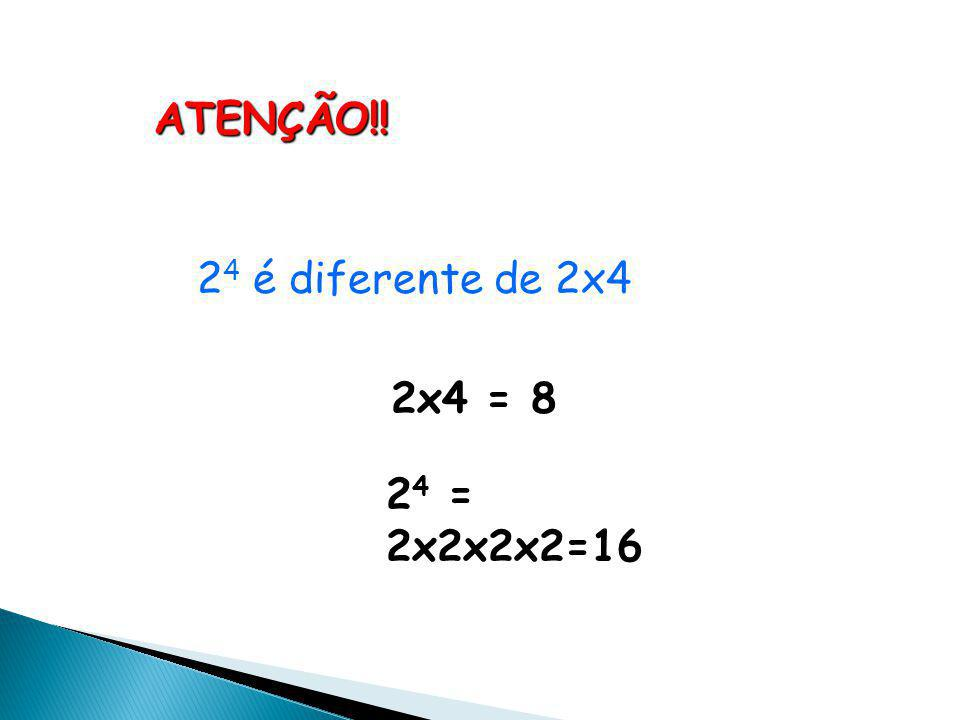 Representamos essas multiplicações abreviadamente por: 2 x 2 x 2 x 2 = 2 4 2 fatores 3 fatores 4 fatores 2 x 2 = 2 2 2 x 2 x 2 = 2 3 A essa operação chamamos de POTENCIAÇÃO