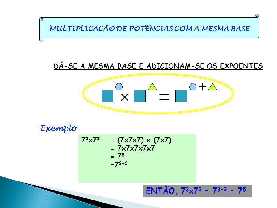 MULTIPLICAÇÃO DE POTÊNCIAS COM A MESMA BASE DÁ-SE A MESMA BASE E ADICIONAM-SE OS EXPOENTES Exemplo 7 3 x7 2 = (7x7x7) x (7x7) = 7x7x7x7x7 = 7 5 =7 3+2 ENTÃO, 7 3 x7 2 = 7 3+2 = 7 5