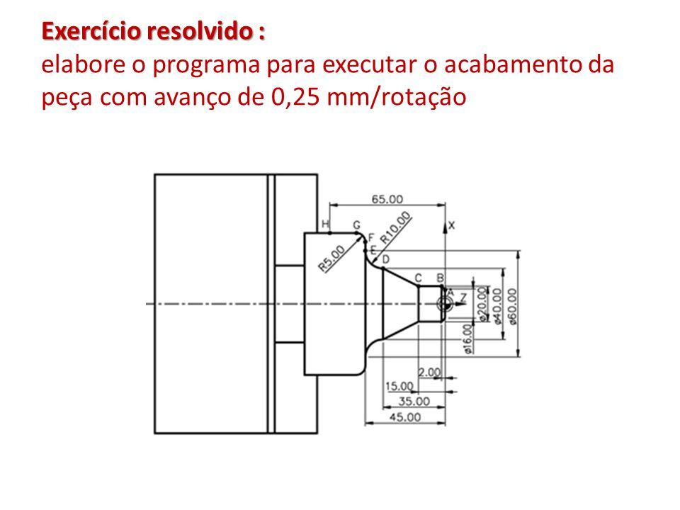 Exercício resolvido : Exercício resolvido : elabore o programa para executar o acabamento da peça com avanço de 0,25 mm/rotação