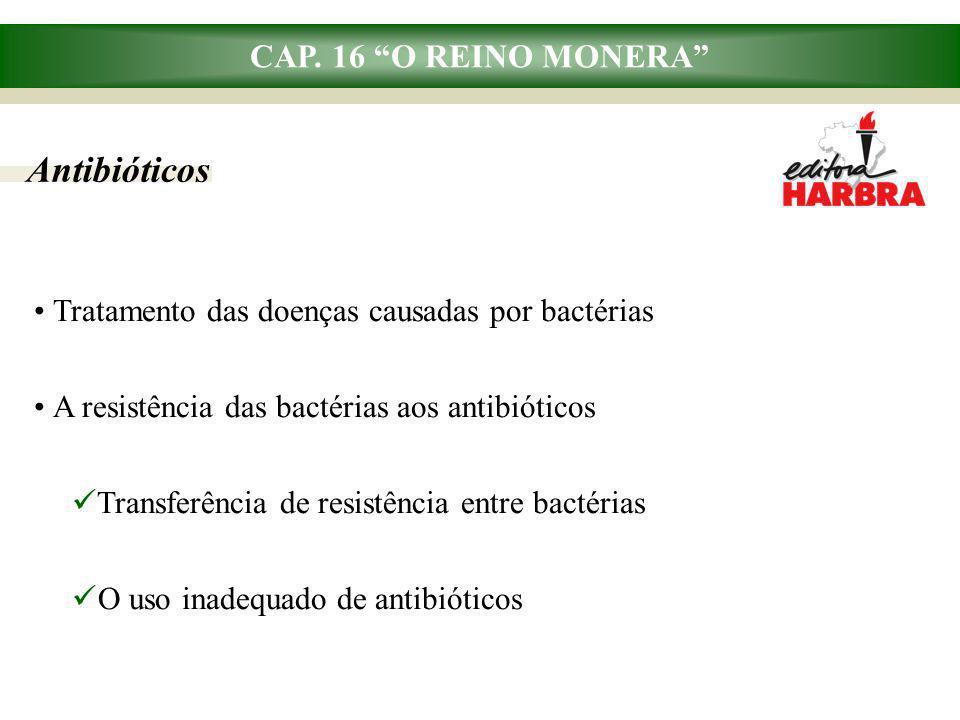"""CAP. 16 """"O REINO MONERA"""" Antibióticos Tratamento das doenças causadas por bactérias A resistência das bactérias aos antibióticos Transferência de resi"""