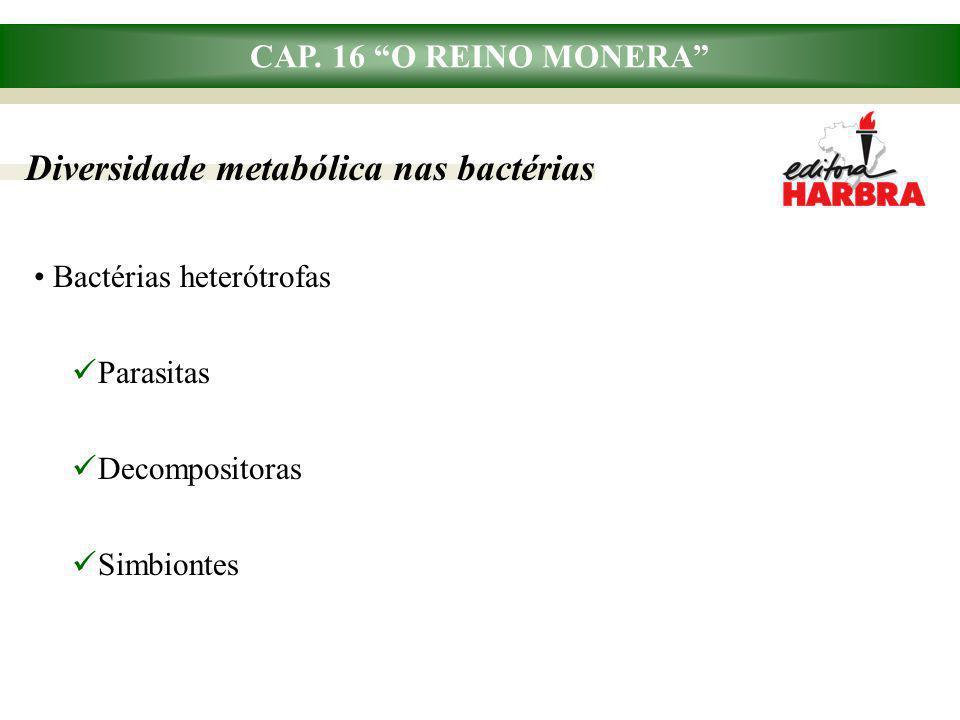 "CAP. 16 ""O REINO MONERA"" Diversidade metabólica nas bactérias Bactérias heterótrofas Parasitas Decompositoras Simbiontes"