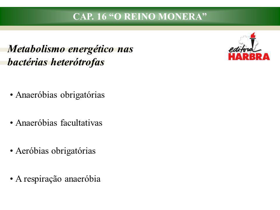 """CAP. 16 """"O REINO MONERA"""" Metabolismo energético nas bactérias heterótrofas Anaeróbias obrigatórias Anaeróbias facultativas Aeróbias obrigatórias A res"""