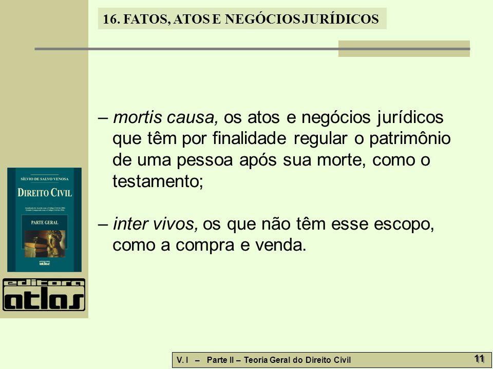 16.FATOS, ATOS E NEGÓCIOS JURÍDICOS V. I – Parte II – Teoria Geral do Direito Civil 12 16.3.