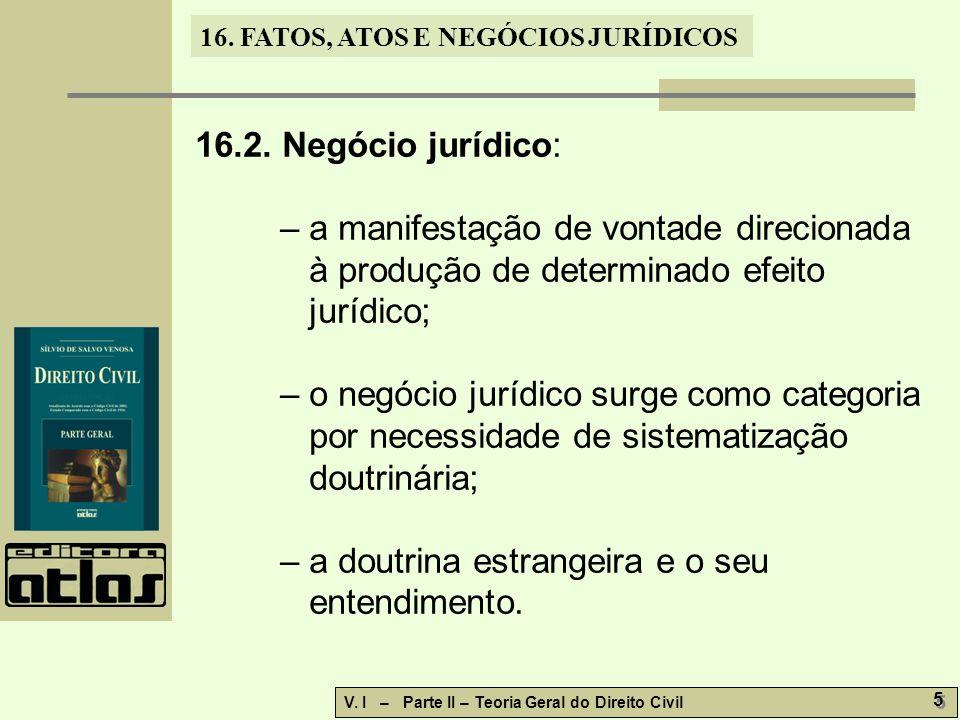 16.FATOS, ATOS E NEGÓCIOS JURÍDICOS V. I – Parte II – Teoria Geral do Direito Civil 6 6 16.2.1.