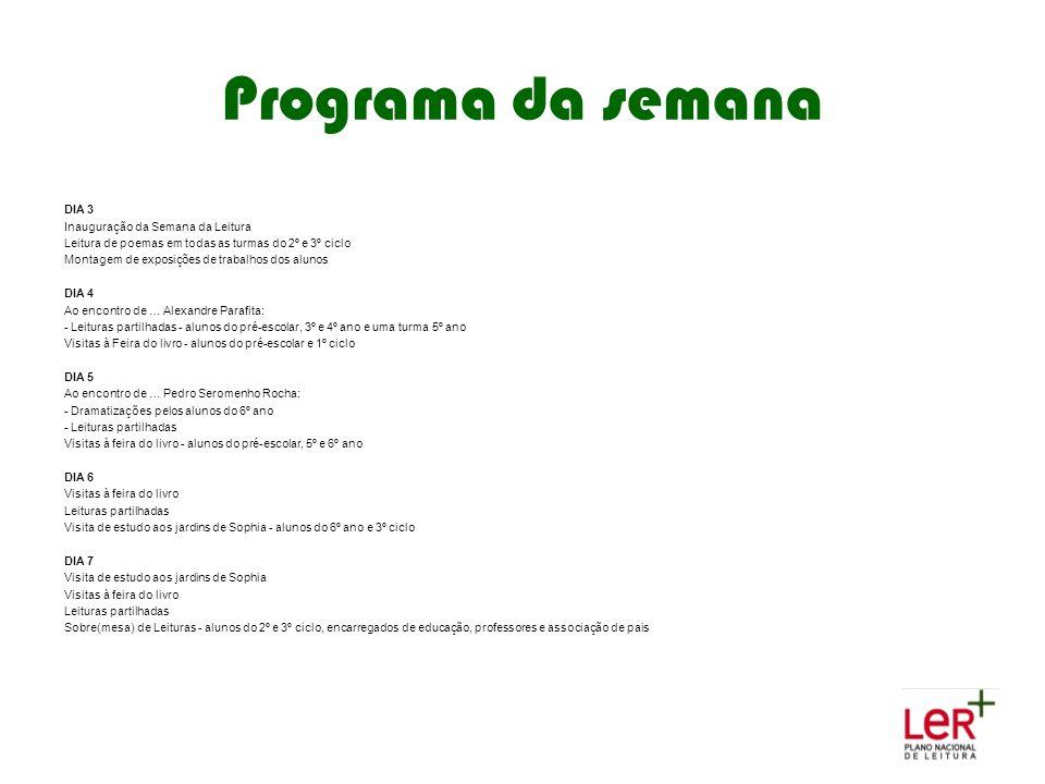 Programa da semana DIA 3 Inauguração da Semana da Leitura Leitura de poemas em todas as turmas do 2º e 3º ciclo Montagem de exposições de trabalhos do
