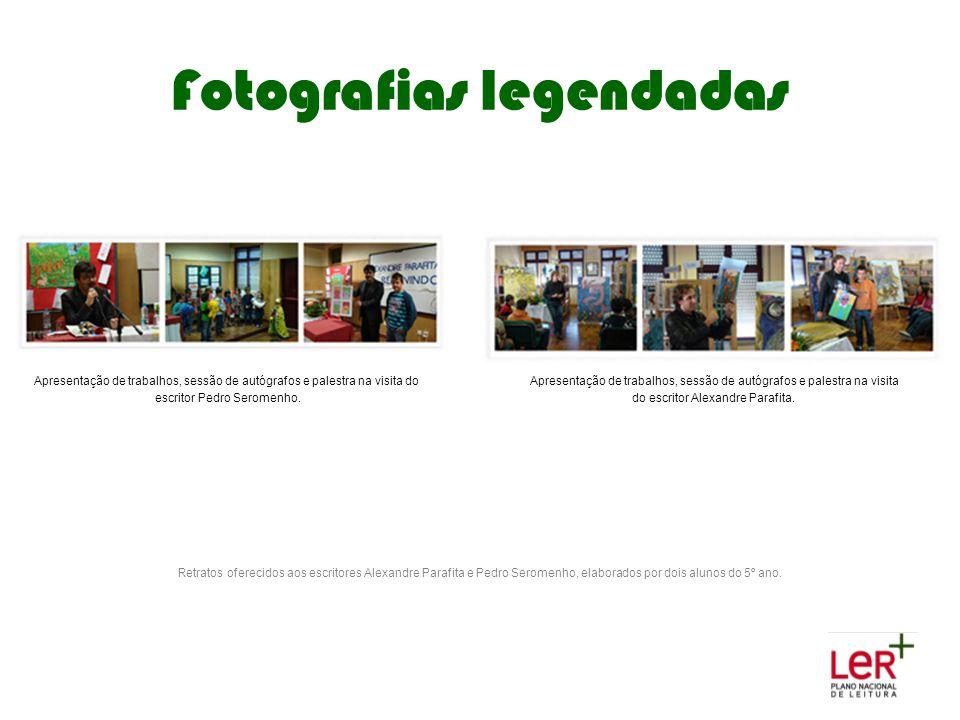 Fotografias legendadas Apresentação de trabalhos, sessão de autógrafos e palestra na visita do escritor Pedro Seromenho. Apresentação de trabalhos, se