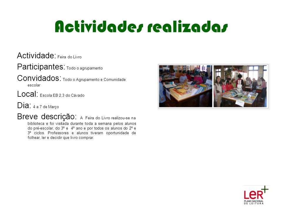 Actividades realizadas Actividade: Feira do Livro Participantes: Todo o agrupamento Convidados: Todo o Agrupamento e Comunidade escolar Local: Escola